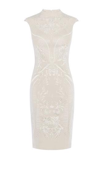 karen millen-  EMBROIDERED PENCIL DRESS - NEUTRAL- office fashion - briar prestidge - deals in high heels