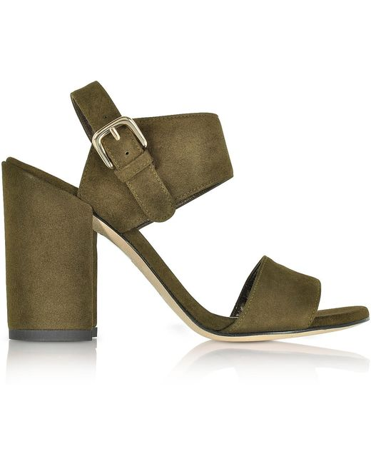 STUART WEITZMAN- Partisan Olive Suede High Heel Sandal- deals in high heels - briar prestidge