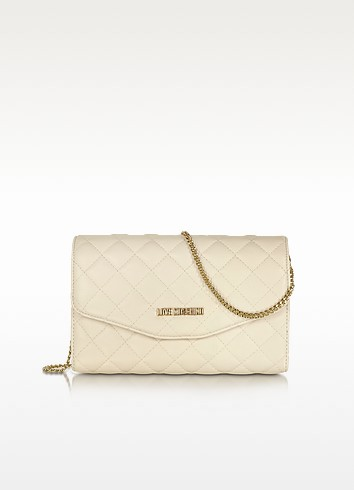 LOVE MOSCHINO- Evening Quilted Ivory Eco Leather Crossbody Bag - briar prestidge -deals in high heels