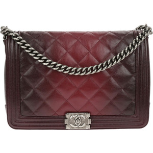 CHANEL BURGUNDY GOATSKIN OMBRE FADED QUILTED NEW MEDIUM BOY FLAP BAG