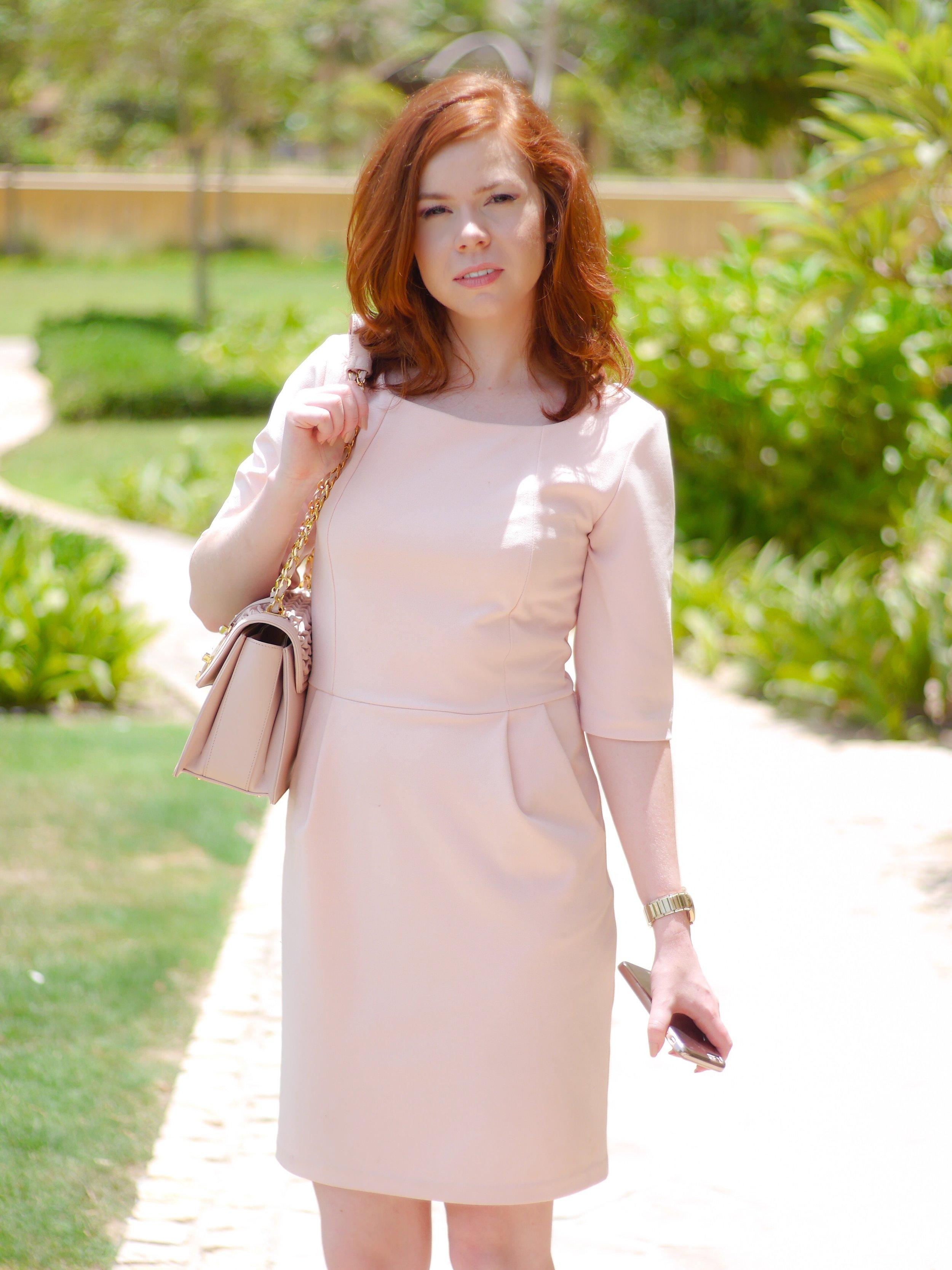 pink dress office fashion - briar prestidge - deals in high heels