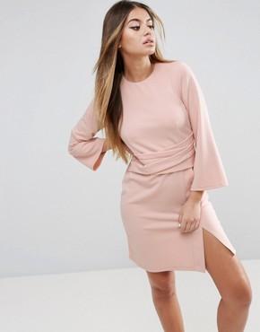 ASOS Wrap Skirt Flute Sleeve Mini Dress - office fashion - deals in high heels - briar prestidge