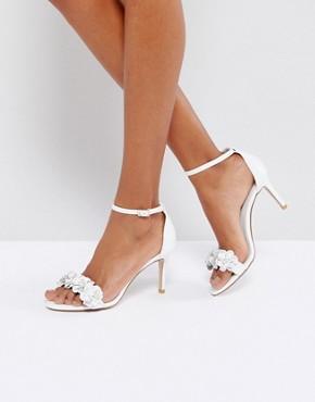 Dune -Magnolea Rose Gold Flower Trim Heel Sandal - office fashion - deals in high heels- briar prestidge