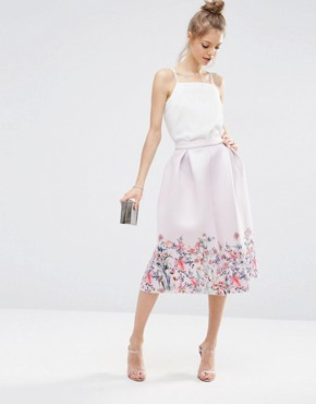 ASOS Scuba Prom Skirt with Floral Border Print - office fashion - corporate midi skirt - deals in high heels