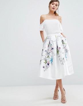 Ted Baker Petale Skirt - office fashion - blue floral midi skirt