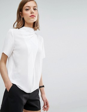 ASOS High Neck Tee with Drape Detail - white shirt corporate fashion - deals in high heels