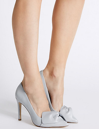leather blue heels for corporate office - deals in high heels