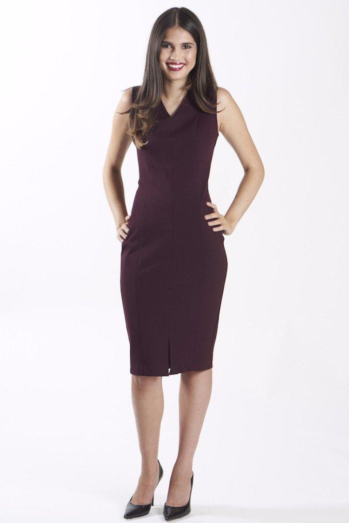 power dress for work - nora gardner-DIANA DRESS - MERLOT