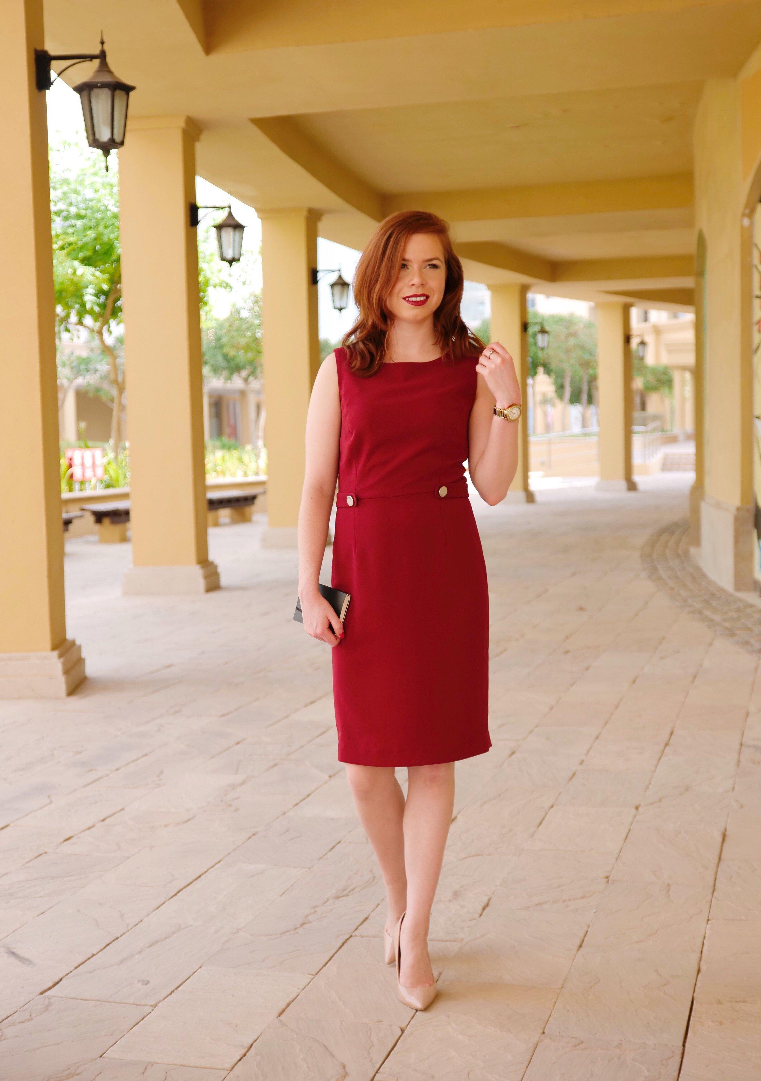 workwear - merlot office dress - nora gardner