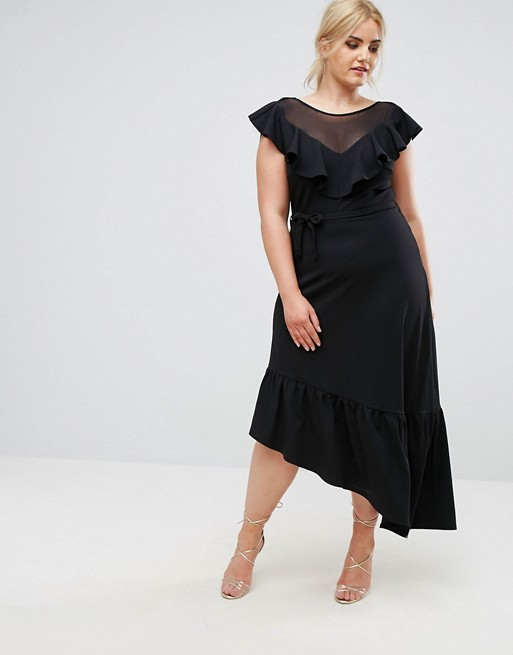 Club L Plus Senorita Ruffle Asymmetrical Dress
