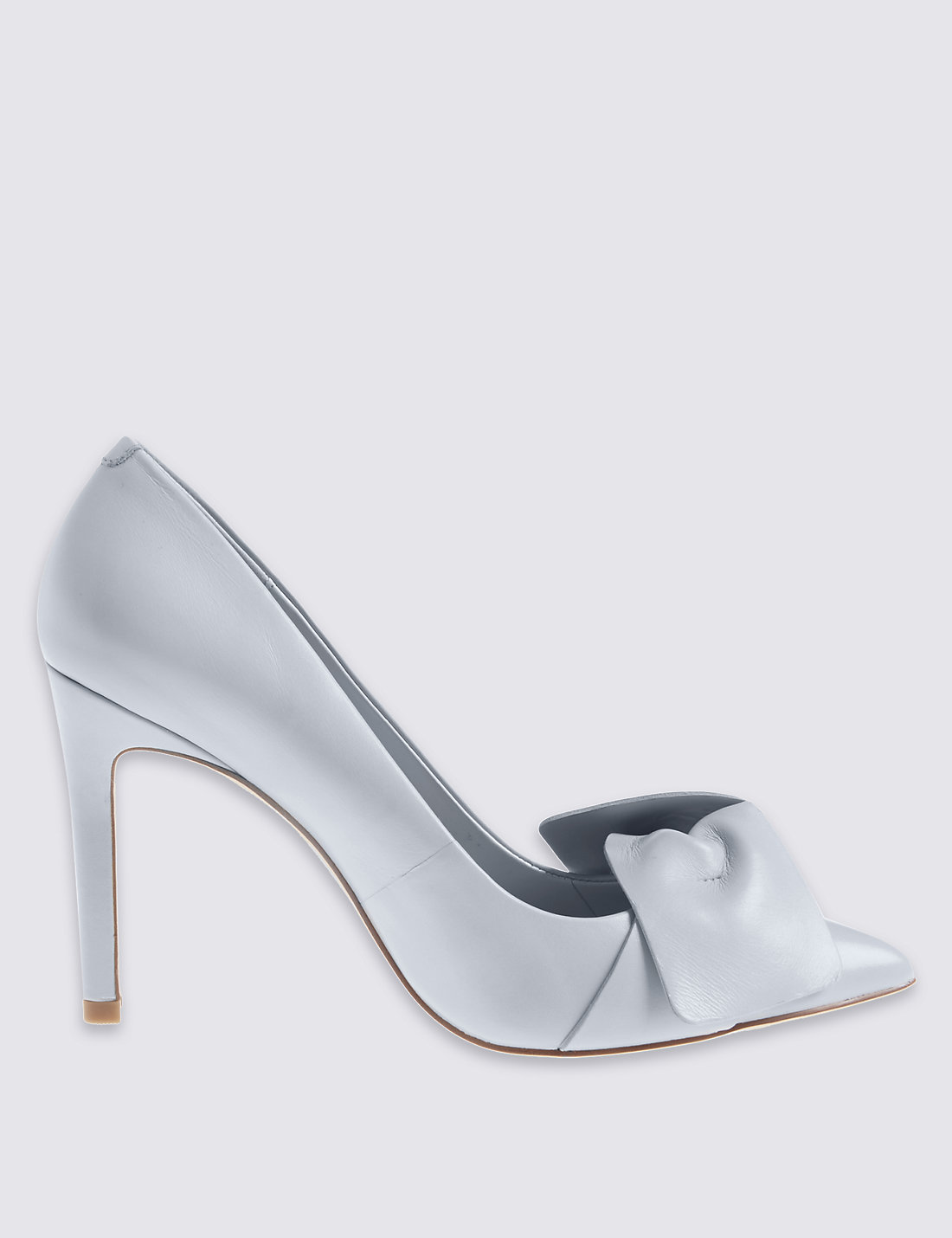 M&S COLLECTION Leather Stiletto Bow Court Shoes