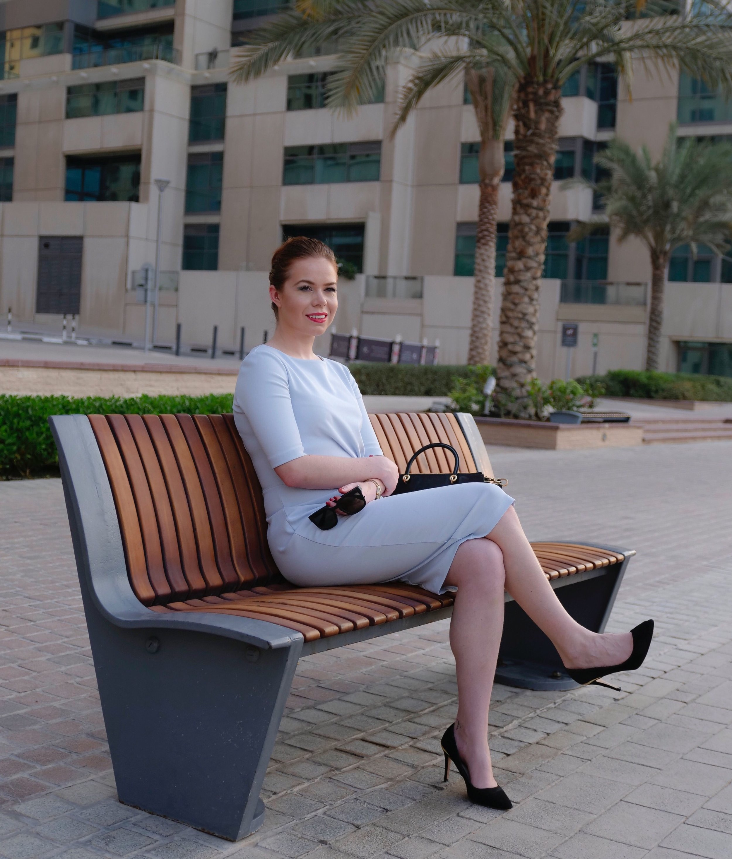 Photos in JBR, Dubai, by Nirmit Gire (@Nirmitgire). For today's office look I'm wearing a classic  ASOS  dress,  Ted Baker  handbag, ASOS black heels and  Michael Kors  watch.