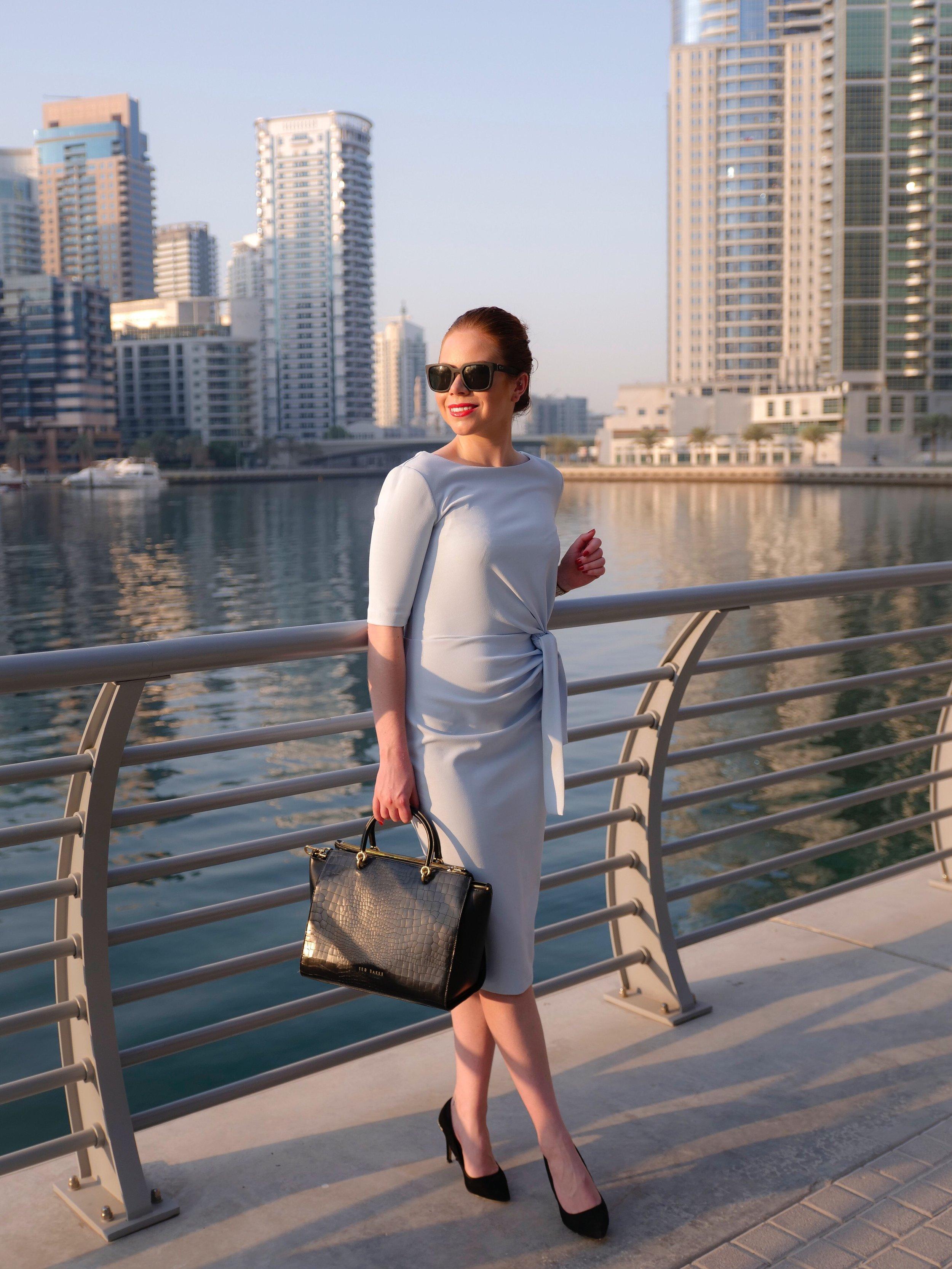 Deals in High Heels - Blue Dress, Black Sunglasses