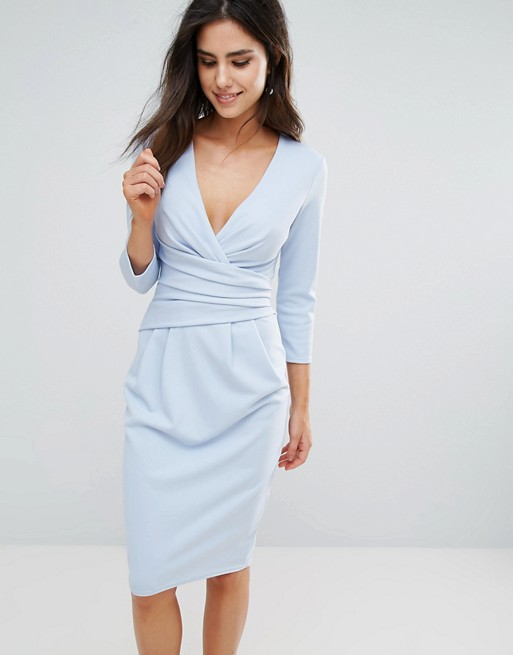 City Goddess Petite 3/4 Sleeve Pleat Detail Midi Dress