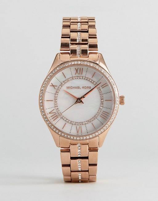 Michael Kors MK3716 Lauryn Glitter Bracelet Watch In Rose Gold