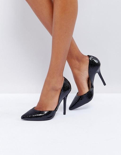 Glamorous Black Snake Heeled Court Shoes