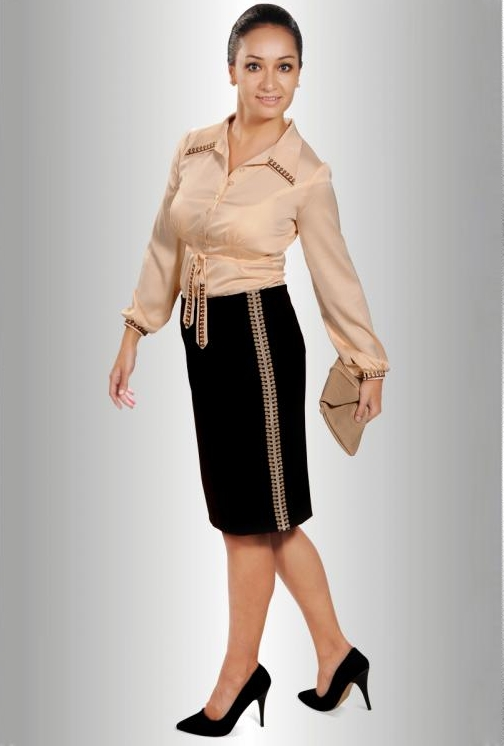Delightful Chocolate brown pencil skirt maraley