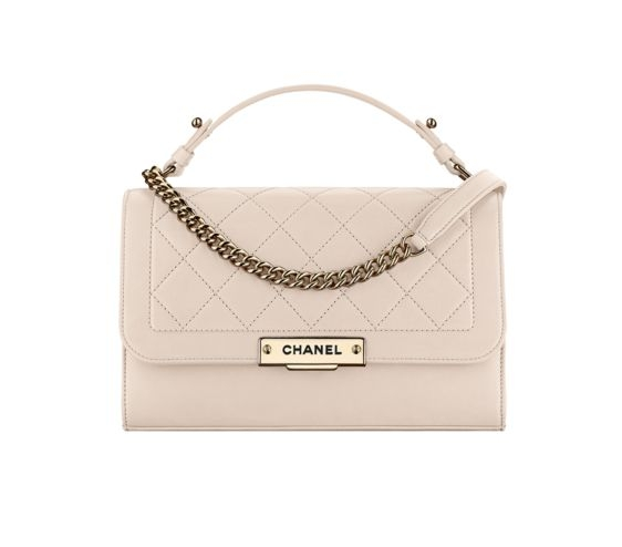 calfskin and gold tone metal light bag chanel