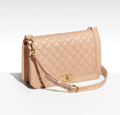 calfskin and gold tone metal beige chanel
