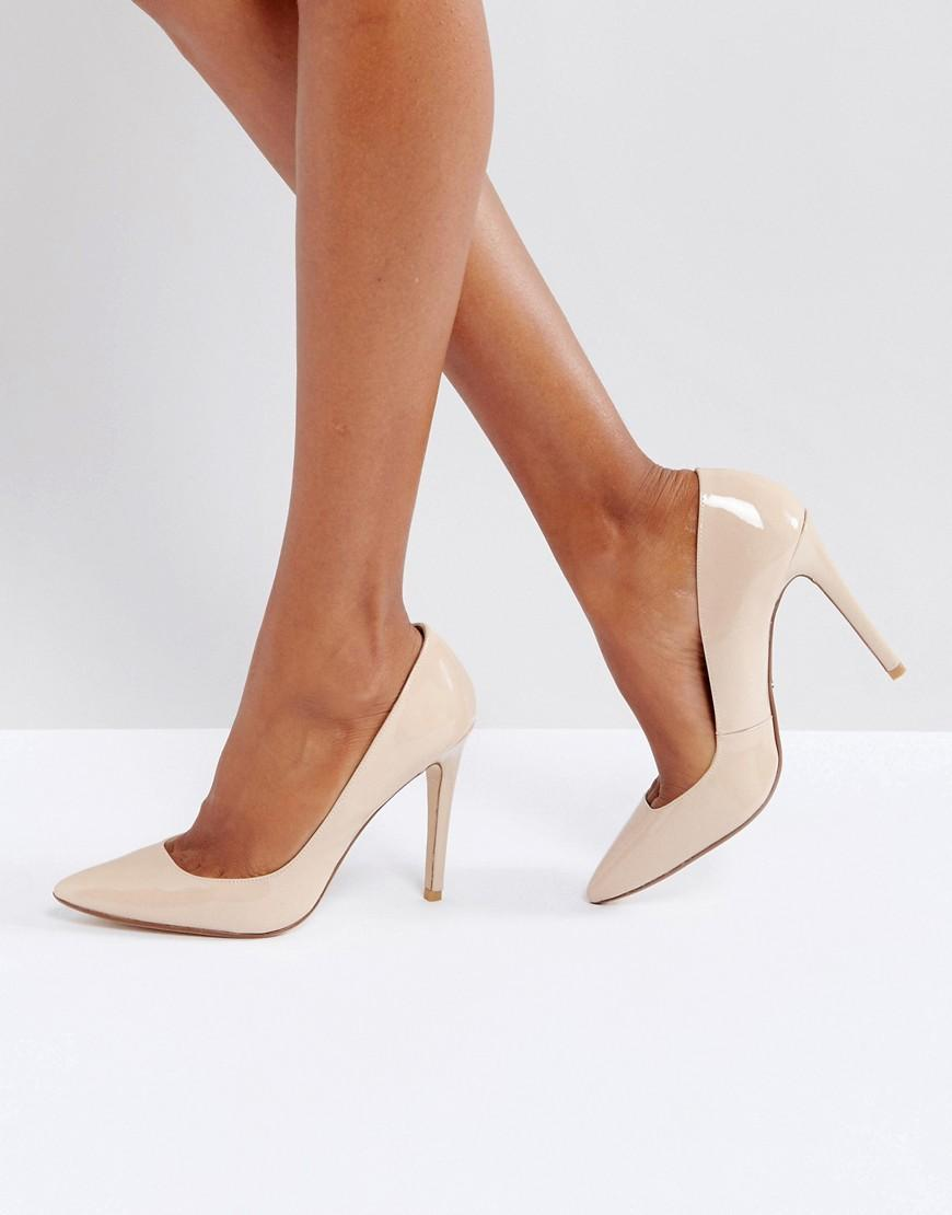 Dune Aiyana Nude Leather Heeled Shoes