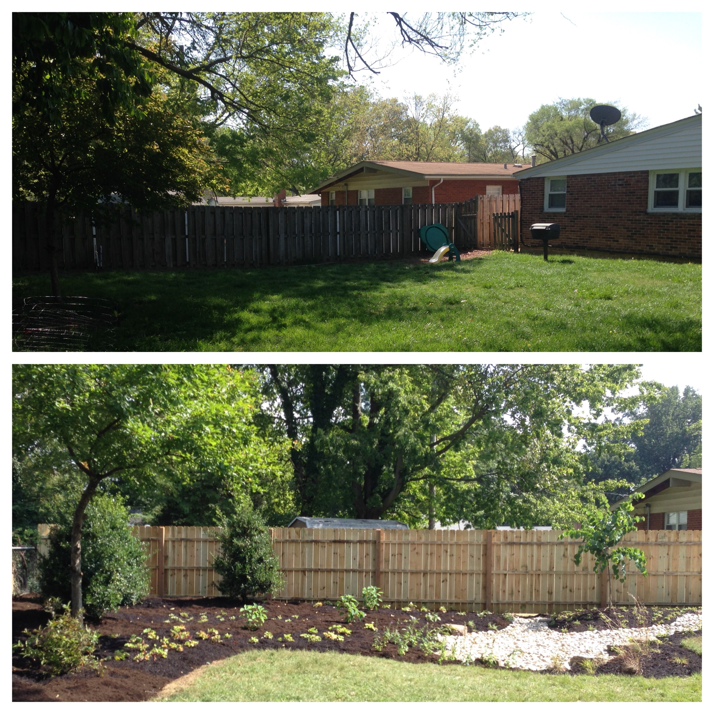 before and after rain garden installation