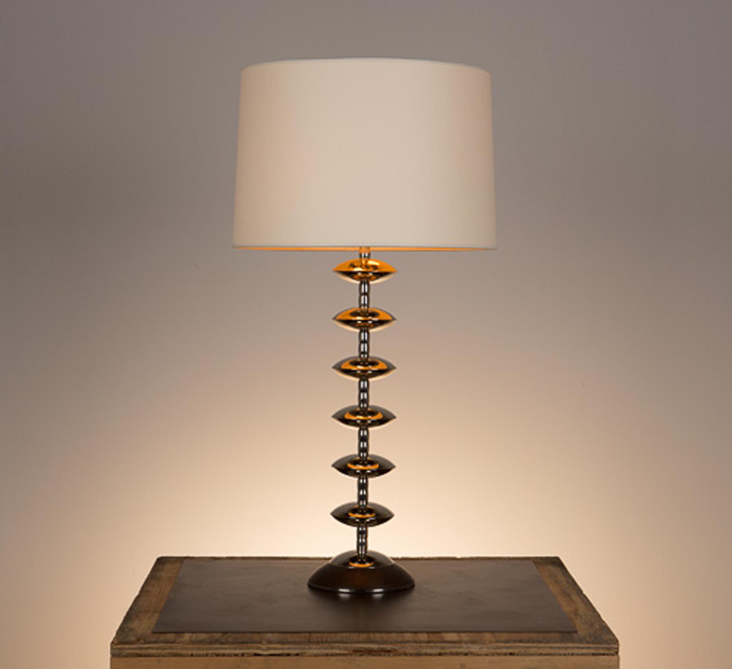 Alcazar Table Lamp #2  Kona walnut base, polished nickel fittings. Semi-closed top lamp shade in vellum.