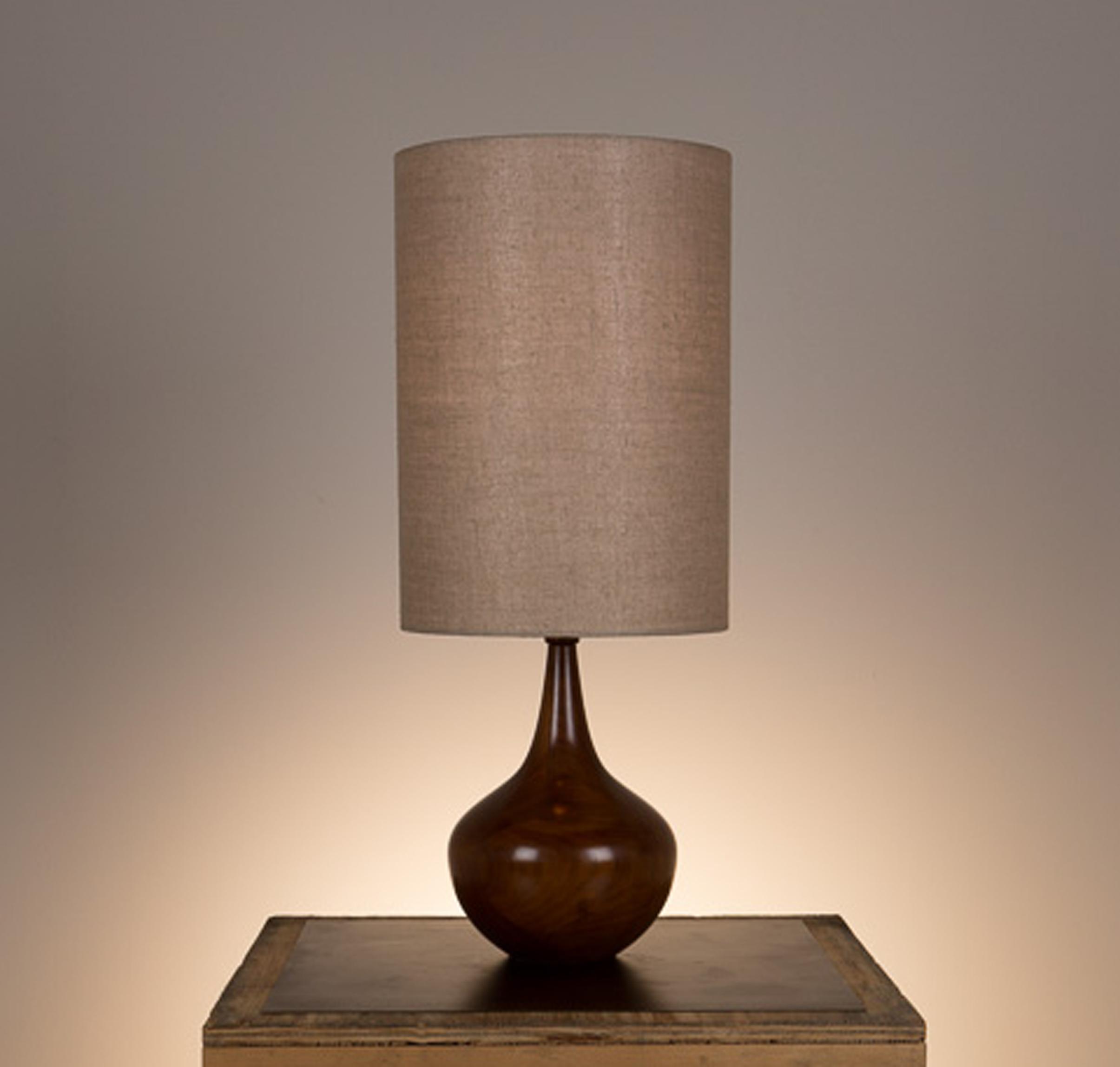 Bradley Table Lamp #2  Walnut in a medium brown finish. Open top lamp shade in 817 beige linen.
