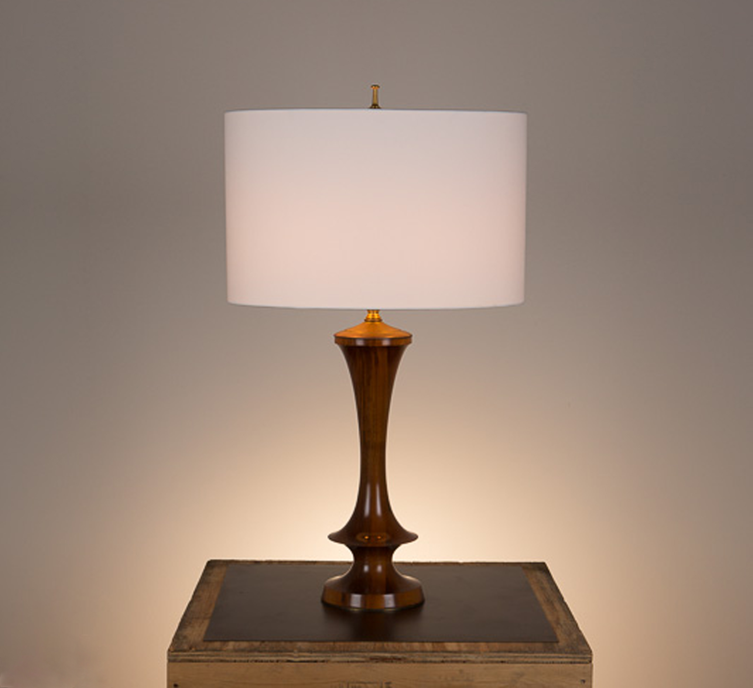 Samantha Table Lamp #1  French polished walnut, hand polished unlacquered brass fittings. 738 white linen oval shade.