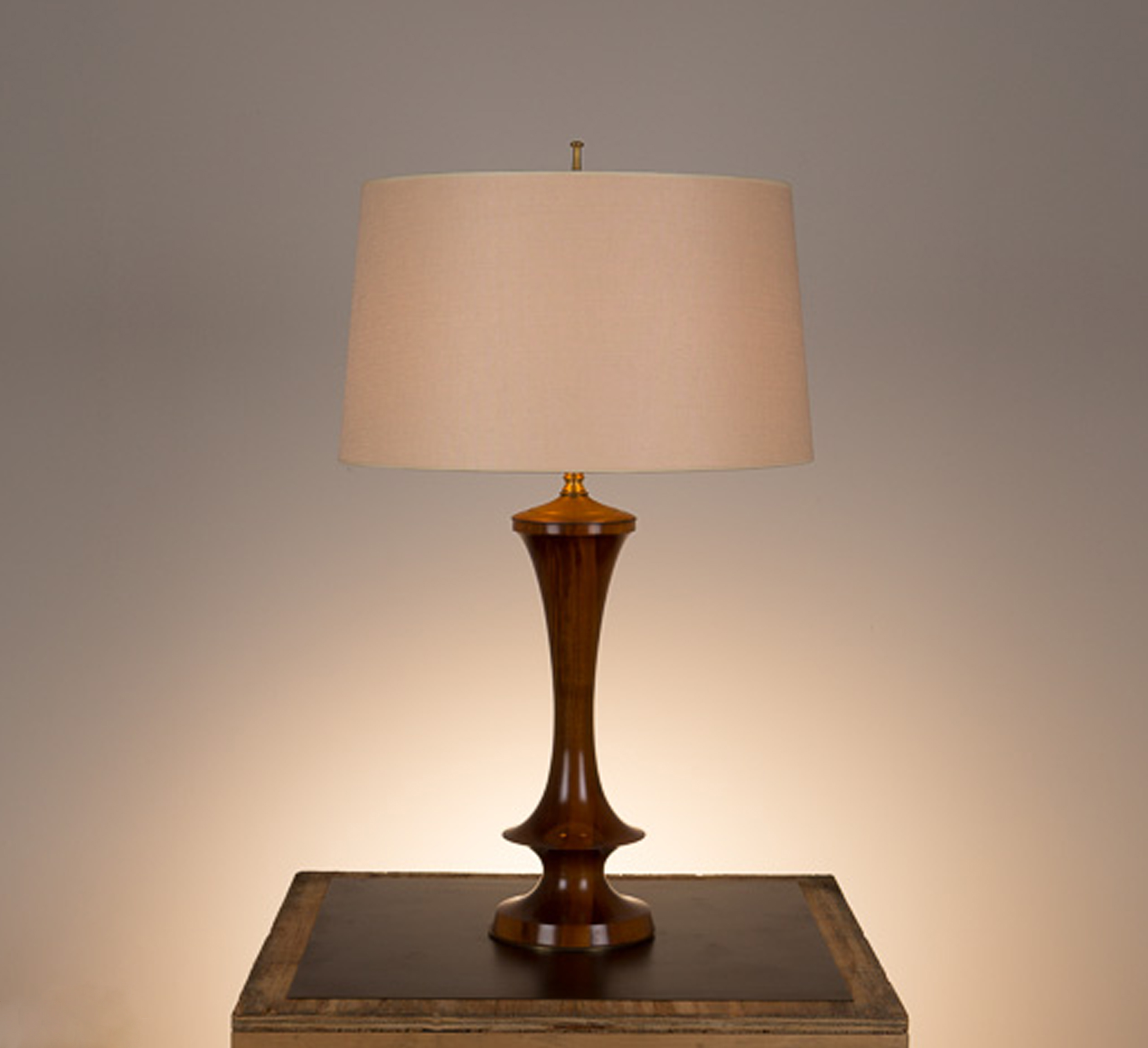 Samantha Table Lamp #2  French polished walnut, unlacquered hand polished brass fittings. Semi-closed top lamp shade in 738 beige linen.
