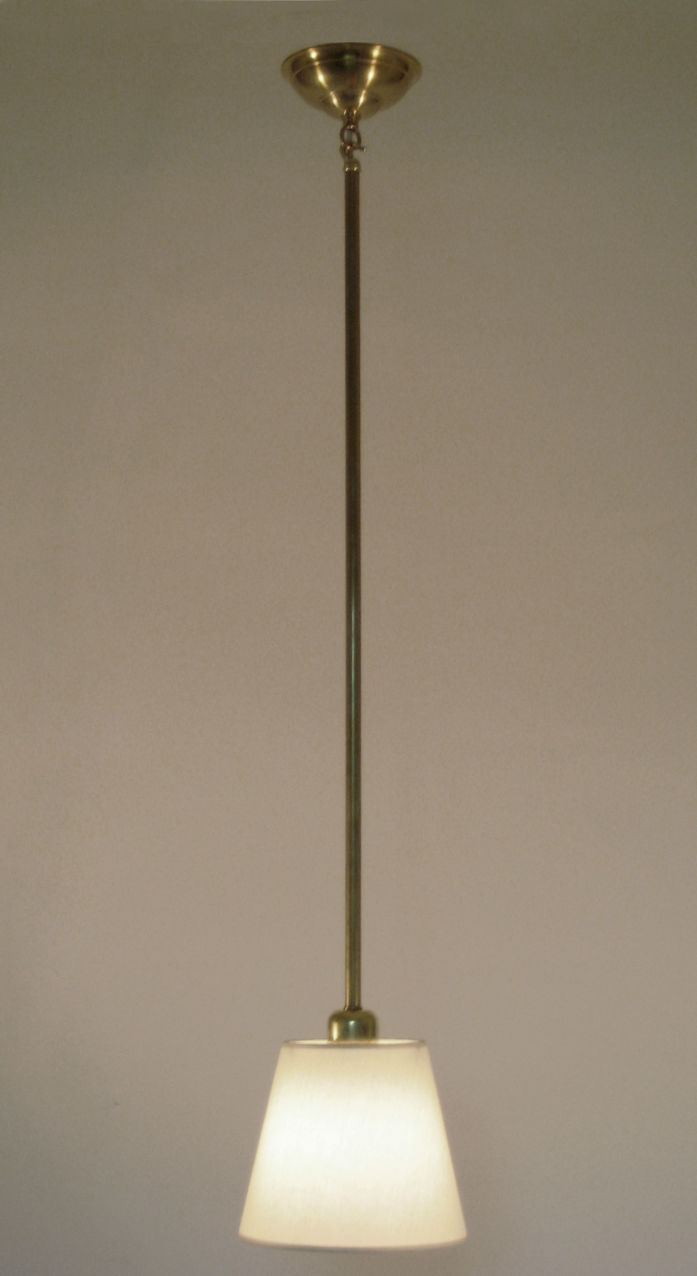 Constance Pendant  Unlacquered brass / eggshell linen shade.
