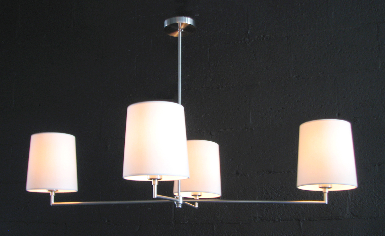 Jasper J Four Arm Chandelier  Satin nickel / eggshell linen shades.