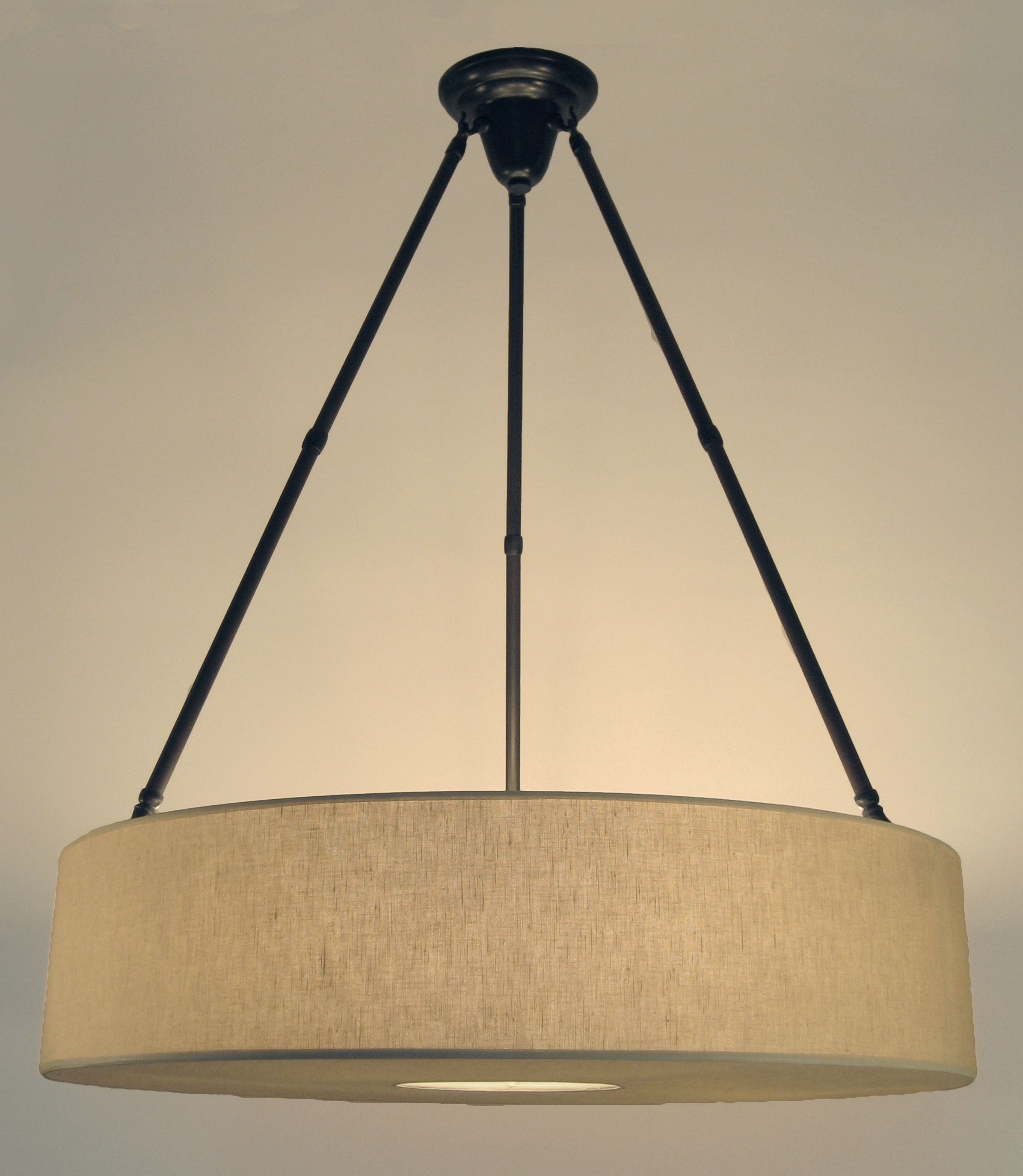 Spencer Chandelier  Bronze / beige linen.