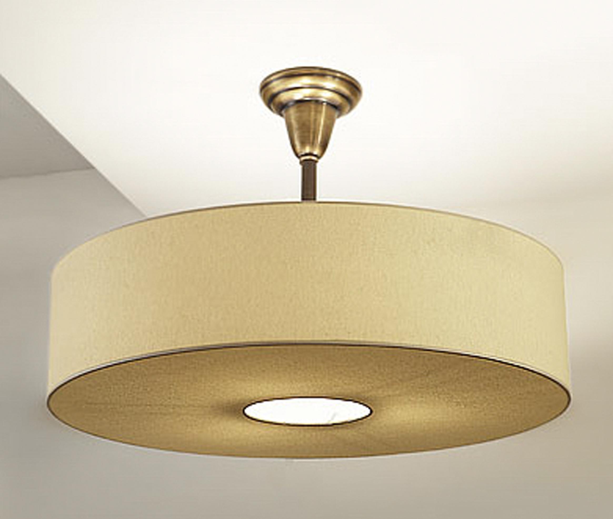 Spencer Pendant  Antique Brass / beige linen shade.