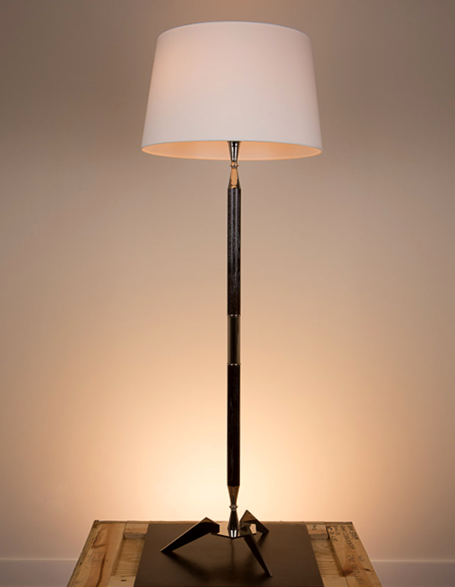 Apollo Floor Lamp  Espresso mica cerused white oak with polished nickel fittings. 870 eggshell linen shade.