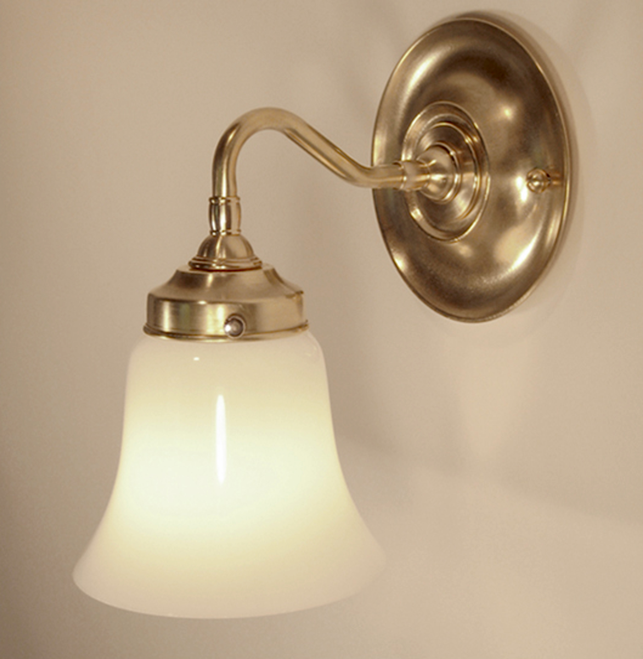 Jameson Sconce (Glass Shade)  Unlacquered hand polished brass / glass shade.