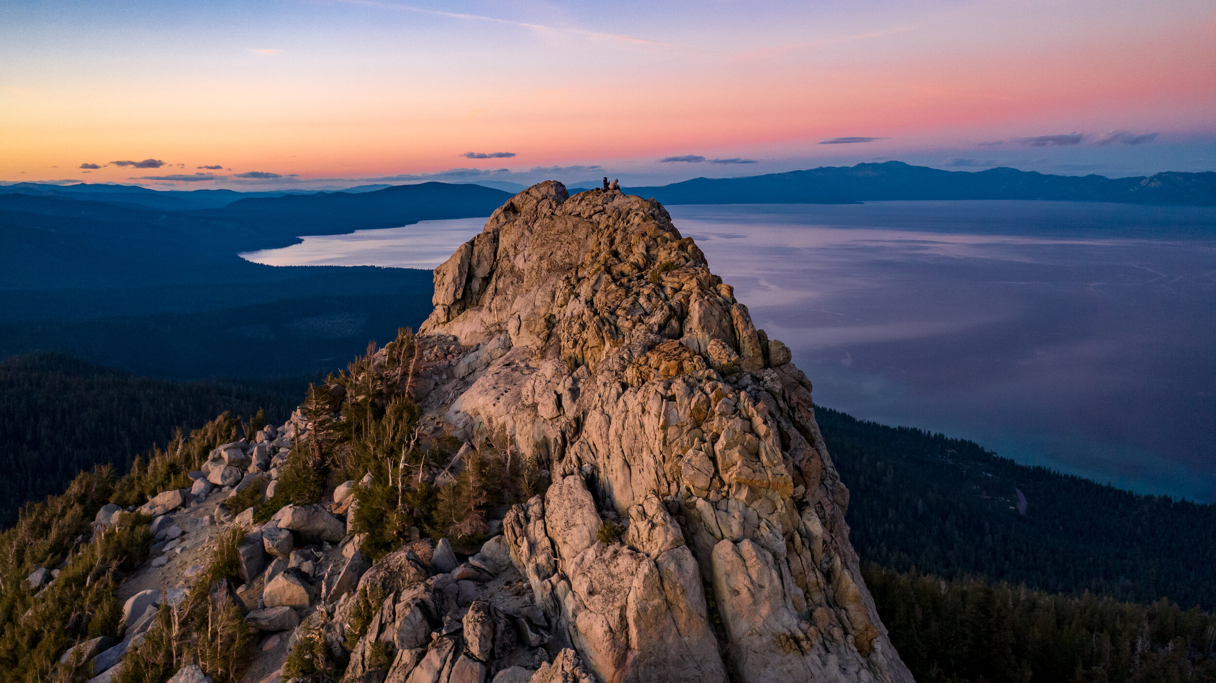 Sunset drone photography of Lake Tahoe