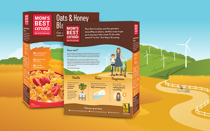 """Social media-worthy """"life hacks"""" on the back of each box of Mom's Best Cereals engage with consumers beyond the breakfast table."""