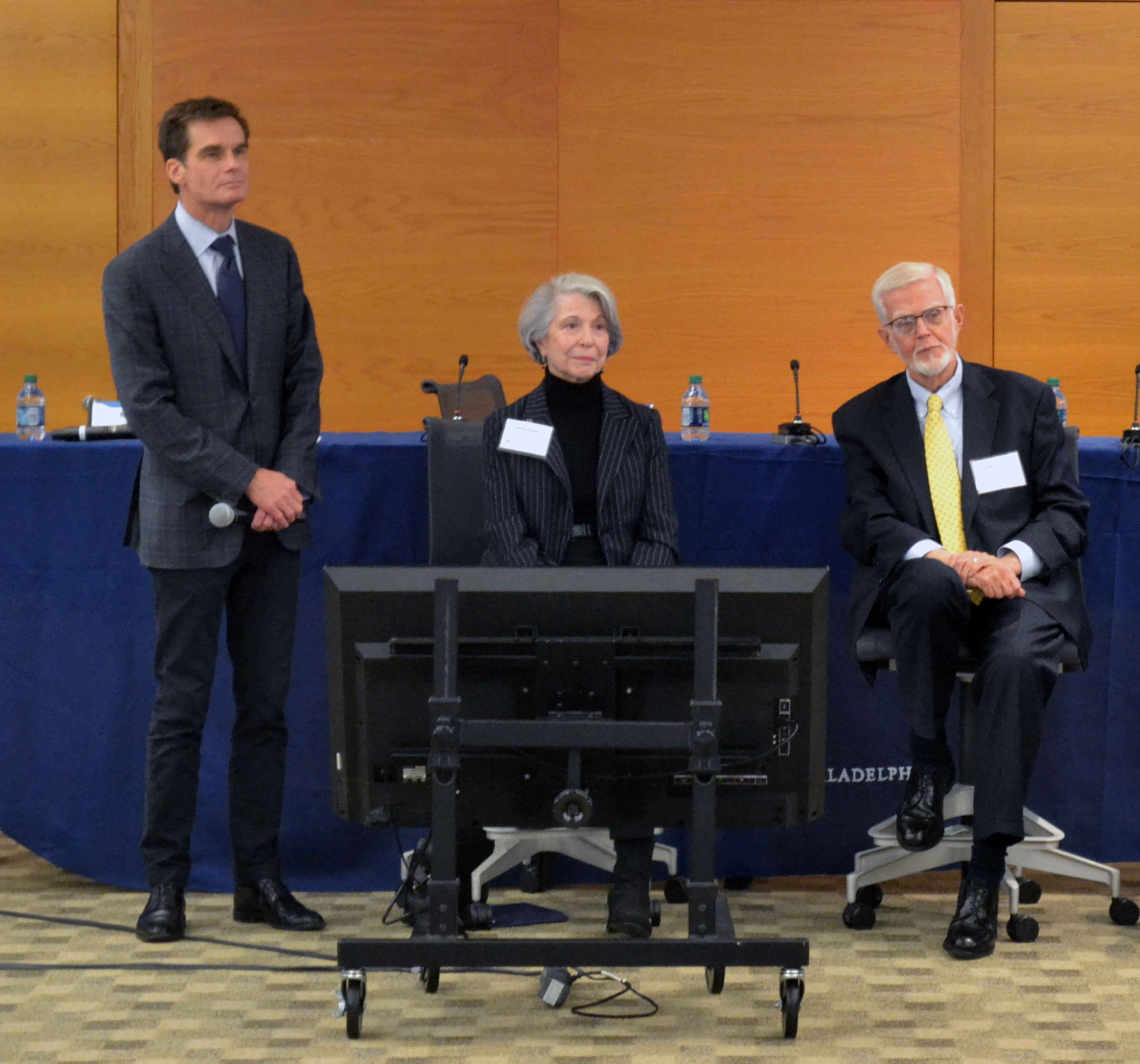 Renee Packel, center, told her story at the Conference on Aging, Cognition, and Financial Health at the Federal Reserve Bank of Philadelphia in November 2017. (Credit: Terrence Casey/Penn Memory Center)