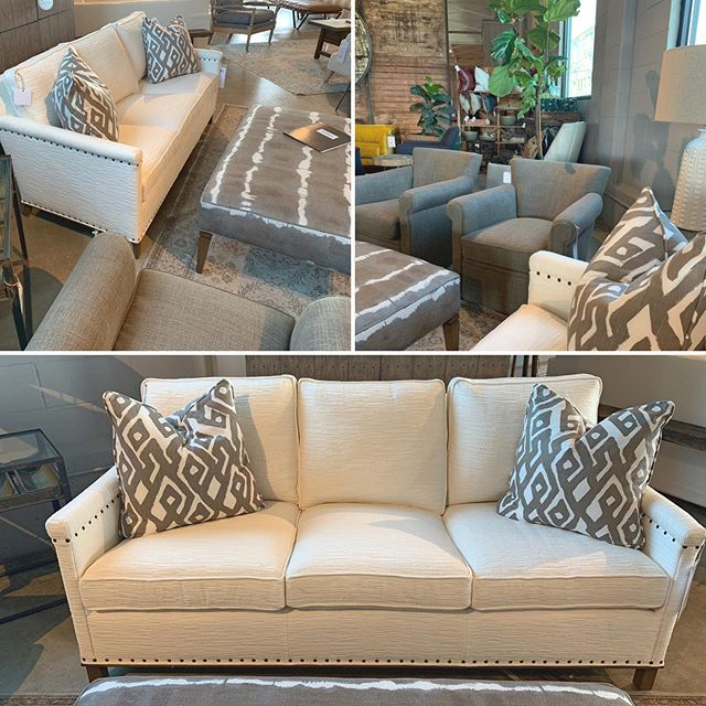 """""""Summer Whites""""- when layered textures and subtle yet totally head turning details have you justifying the need for """"that"""" white sofa! #youngsfurniture #interiordesigninspo #interiordesign #furniture"""