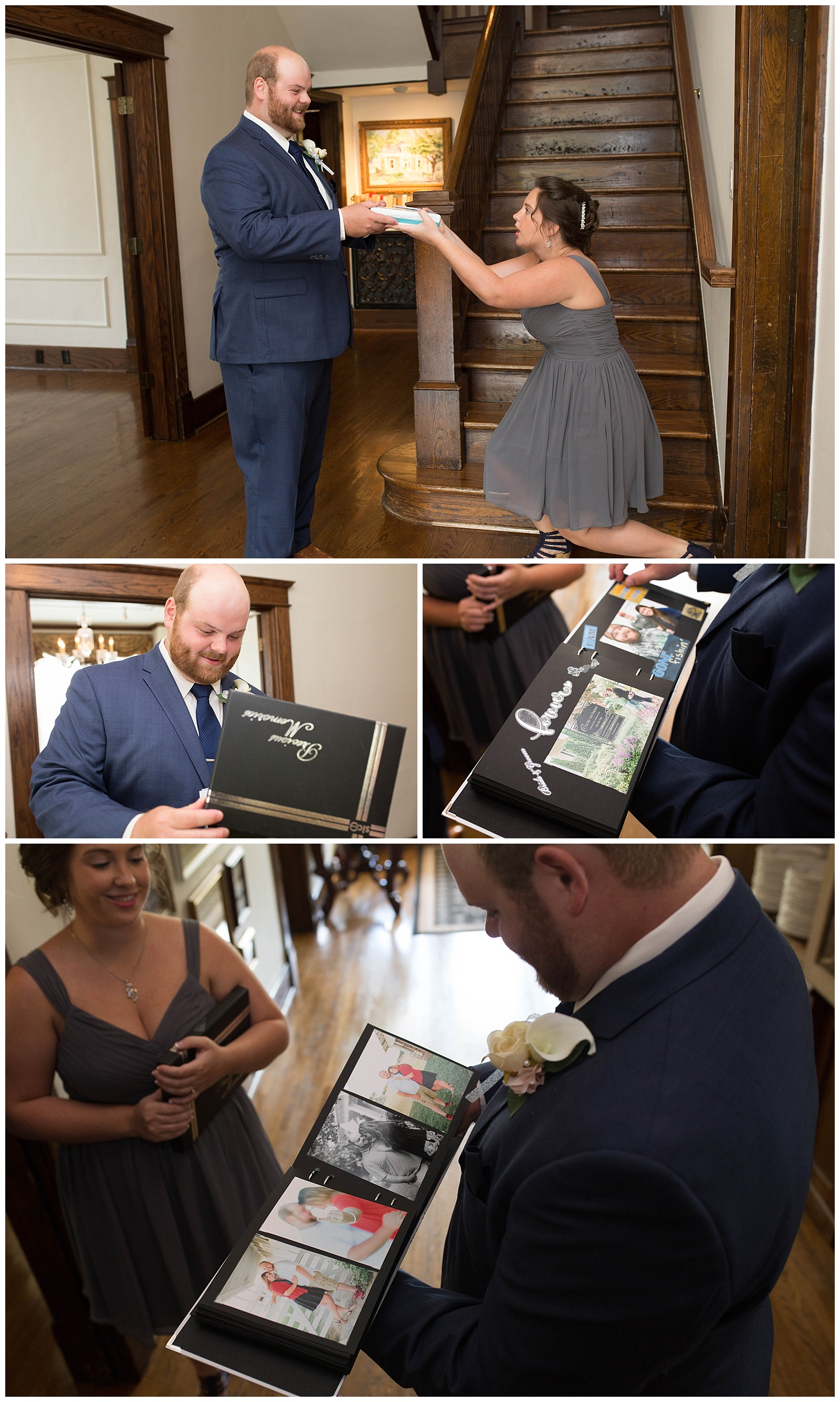 The story behind this: Liz and Ethan always gifted each other scrapbooks yearly. Since this year, they will be together and no longer will need to share them, Liz snuck and made this scrapbook as a huge surprise to her new hubby! She even had pictures in it from WEDDING DAY!! She put so much thought and love into this!