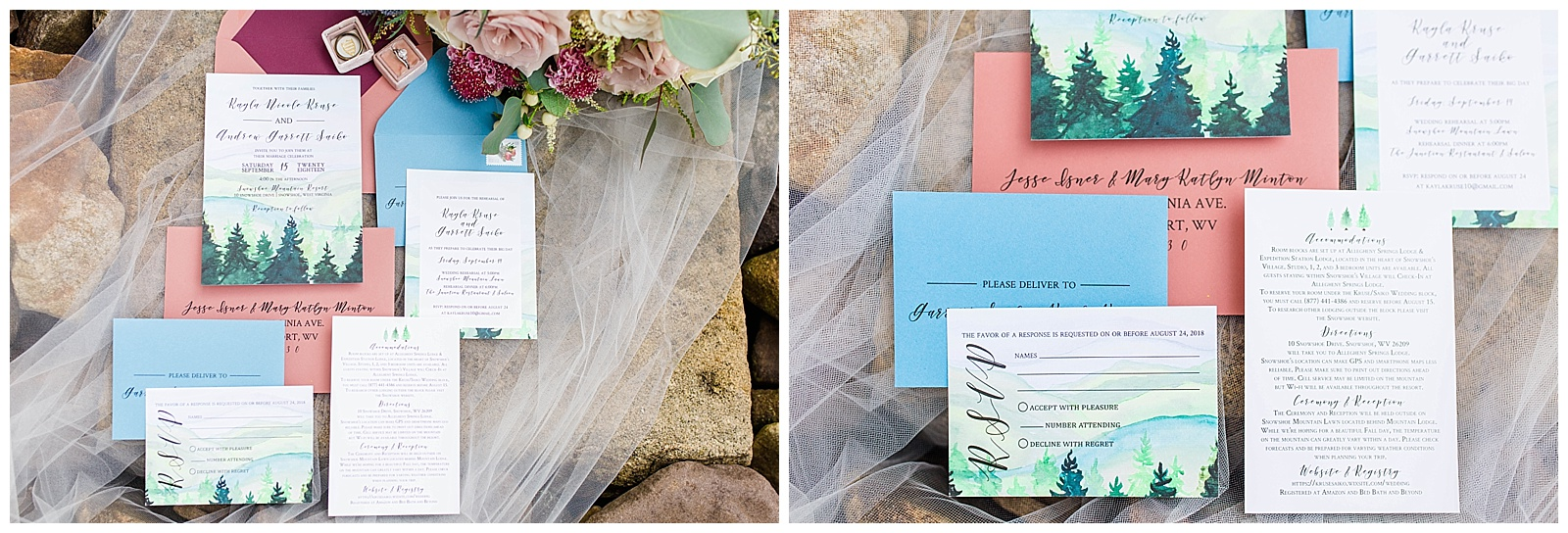 These beautiful invitations were executed by Rock Paper Sisters and the mountains for the background were hand painted by the Bride's mom!!