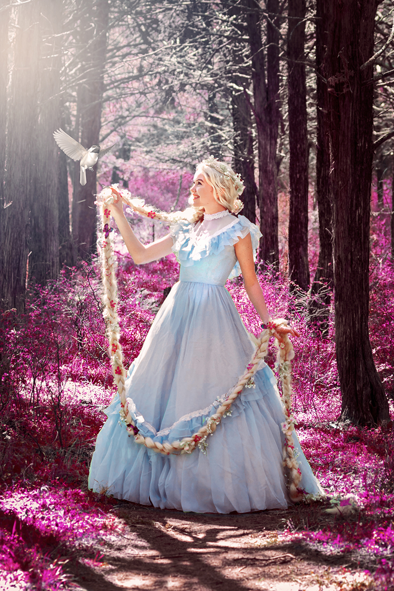 Rapunzel in a forest of pink.jpg