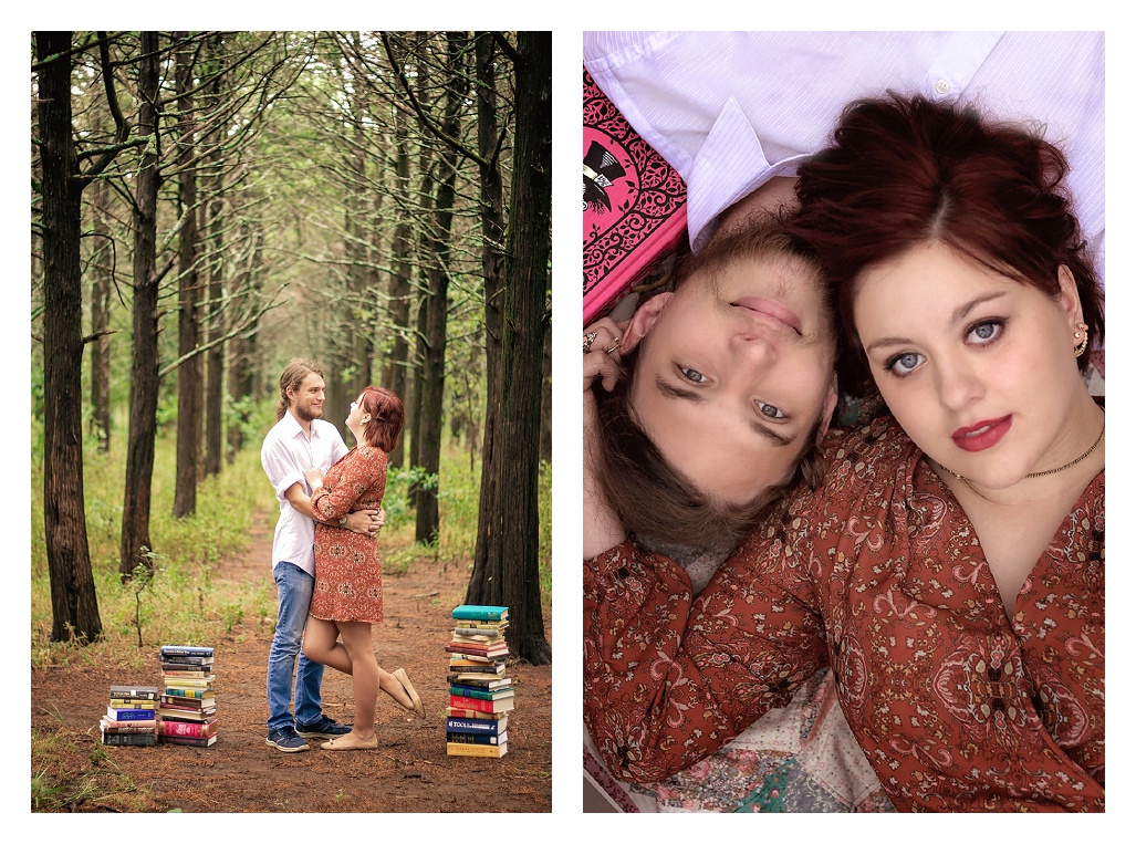 Book Loving couple in forest among books.jpg