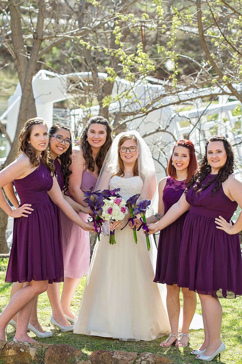 The Bride and her girls in purple dresses.jpg