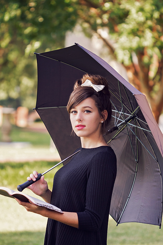 Audrey Hepburn  styled session girl under umbrella.jpg