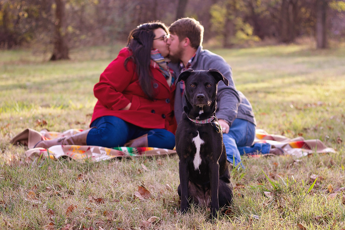 Portrait of Couple Kissing in background of Black Pup.jpg
