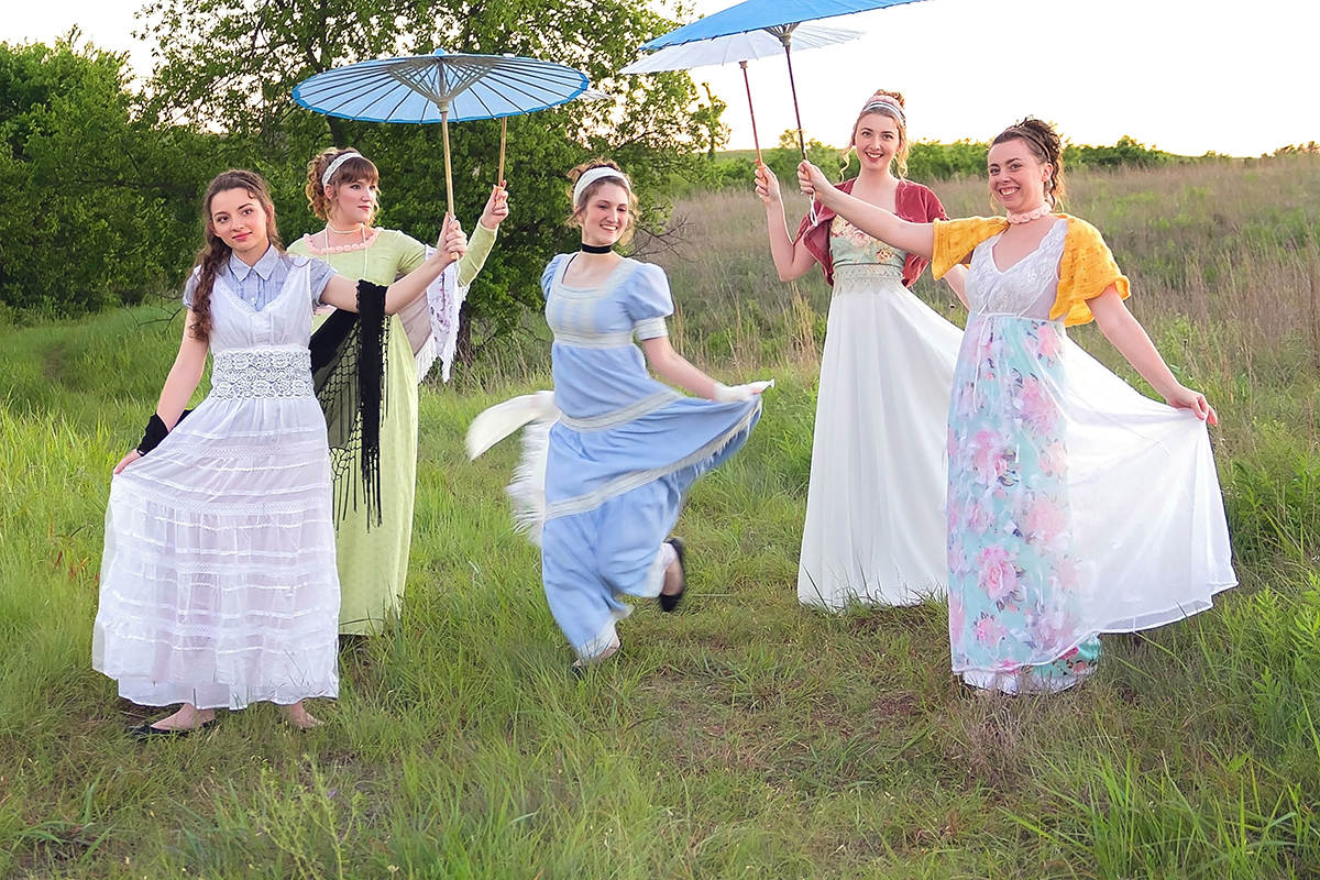 Jane Austen Inspired Shoot at Fort Sill, Oklahoma, The Bennet Sisters at the dance.jpg