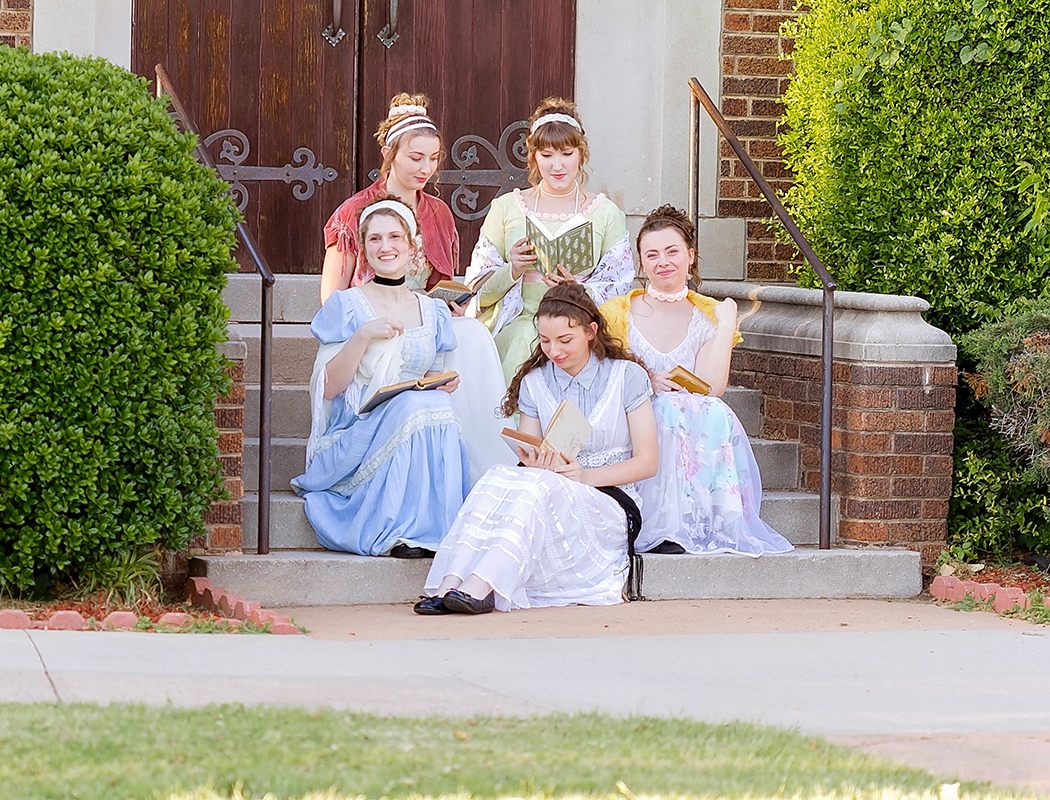 Jane Austen Inspired Shoot at Fort Sill, Oklahoma, The Bennet Sisters waiting on the regiment.jpg