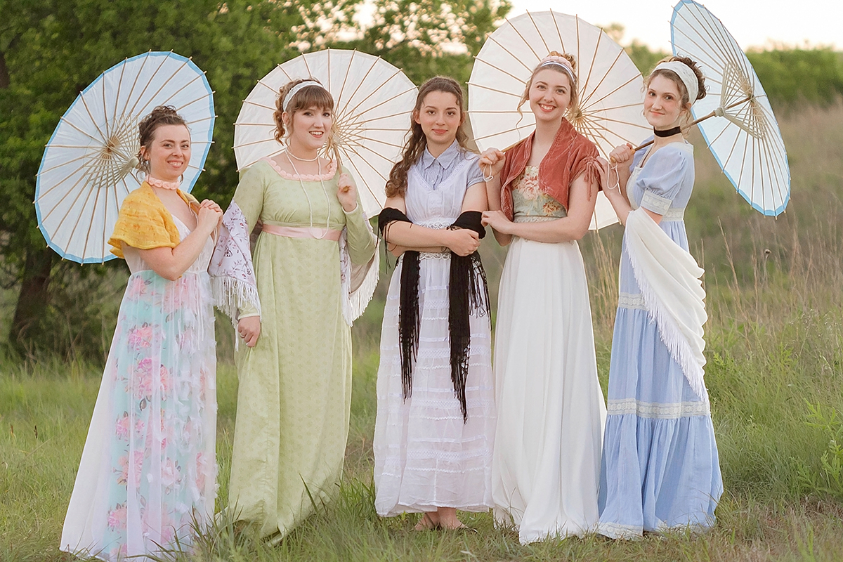 Jane Austen Inspired Shoot at Fort Sill, Oklahoma, The Bennet Sisters with parasols.jpg
