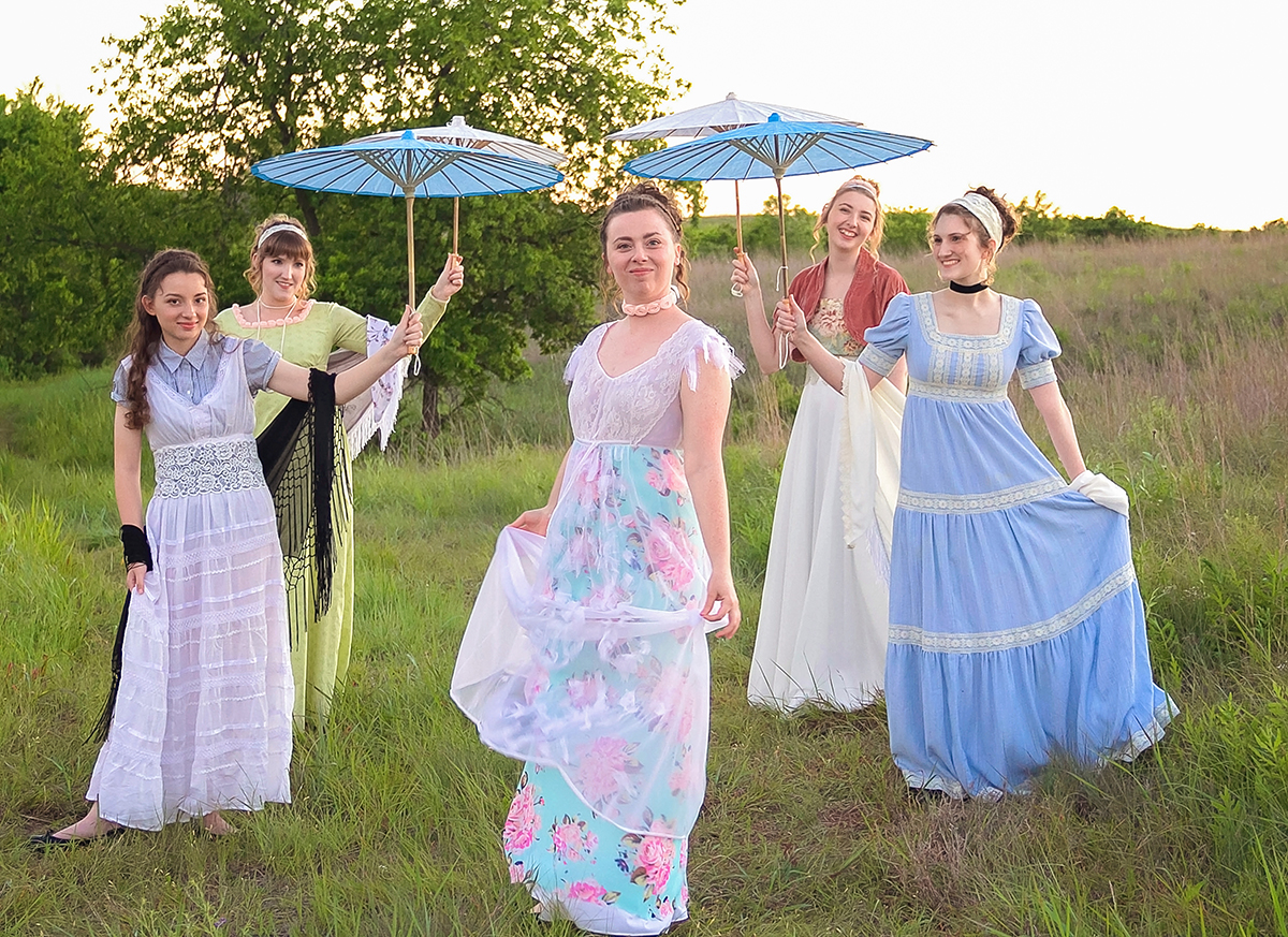 Jane Austen Inspired Shoot at Fort Sill, Oklahoma, The Bennet Sisters may I have this dance under parasols.jpg